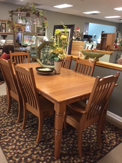 Amish Haus Oak Dining Room Set with 6 Chairs and 2 Leaves ...